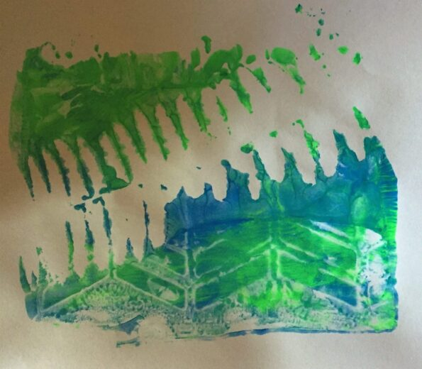 Abstract print in blue and green with white shadow of a fern. Copyright Andrea LeDew.