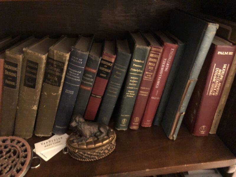 A scientist's bookshelf. Copyright 2020 Andrea LeDew.