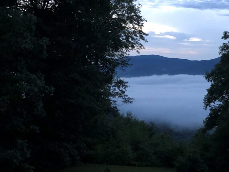 View from a hilltop of the valley below covered in a shroud of mist and the mountain beyond. Copyright Andrea LeDew