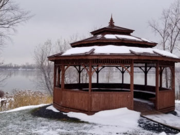 A lakeside gazebo in winter, covered in snow inside and out. PHOTO PROMPT © Dale Rogerson