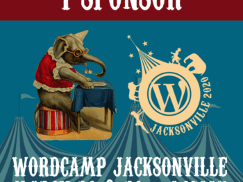 Image of circus elephant and WordCampJax 2020 logo saying I sponsor