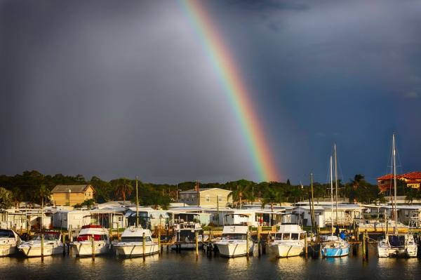 Rainbow over sailboats in a harbor Copyright Jeff Arnold