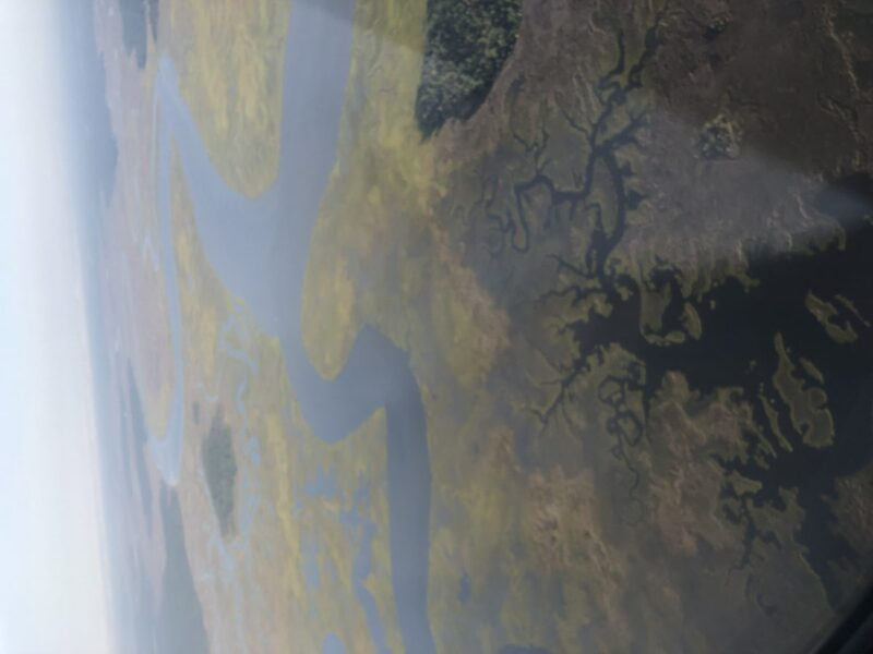 The marshlands of Northeast Florida seen from a plane window. Copyright Andrea LeDew.