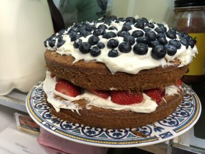 A red-white-and-blue Fourth of July cake with blueberries, strawberries and white frosting. Copyright Andrea LeDew.