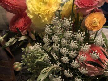 Bouquet by Mattie LeDew on a coffee table. Copyright Andrea LeDew.