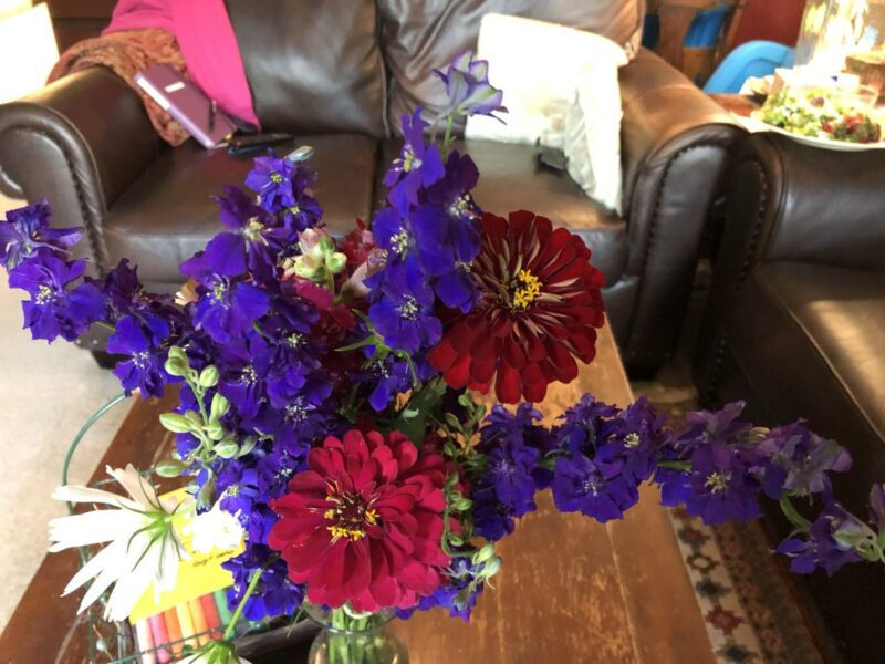 A red and purple bouquet on a coffee table in front of a comfy couch. Copyright Andrea LeDew
