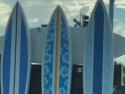 Surfboards beachside at Jacksonville Beach, FL. Copyright Andrea LeDew.
