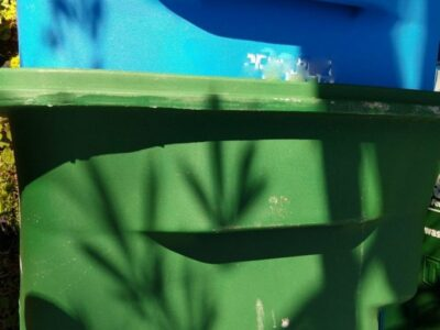 A blue plastic garbage can nested inside a green plastic garbage can. Copyright Andrea LeDew.
